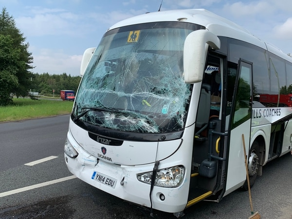 School coach full of Newport pupils in crash on M54 roundabout