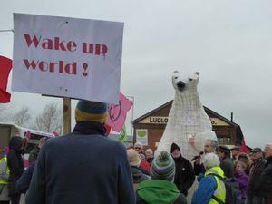 Clarion the polar bear at the Ludlow march
