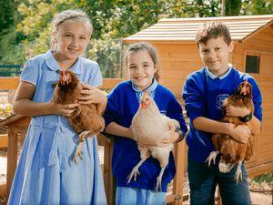 Kayleigh Brady, 9, Freyja Brain, 9, and Finlay Dixon, 10