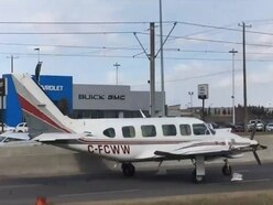 A small plane has made a dramatic emergency landing on a Canadian highway