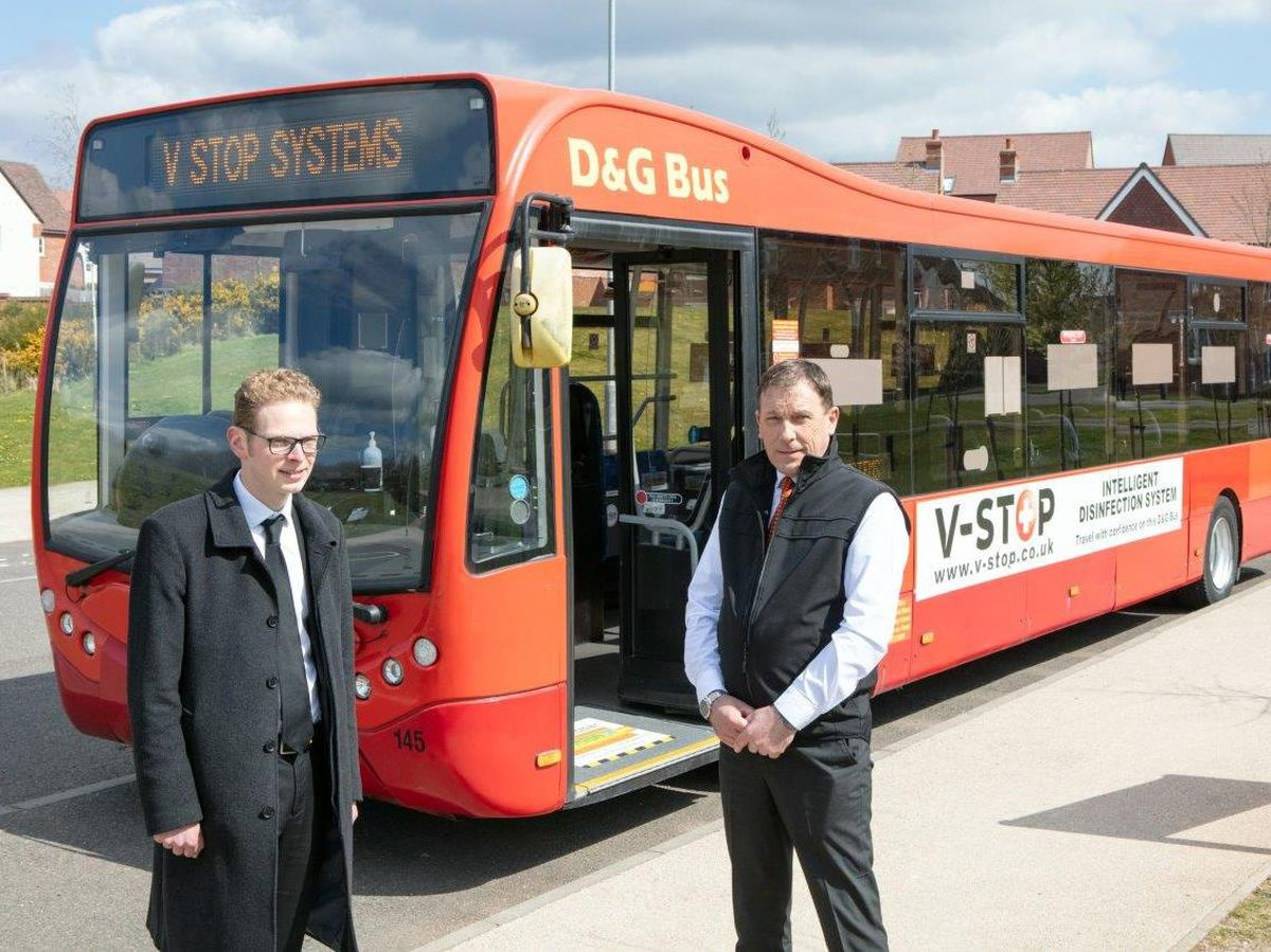 MP Jack Brereton and Kevin Crawford of D&G Bus during the launch of the new fogging system being used in Shropshire