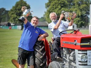 SHREWS COPYRIGHT MNA MEDIA TIM THURSFIELD 15/07/21 .Pre pic ahead of the Shropshire County Show this Saturday..Trophies at the ready!.CEO Ian Bebbington and chair of the trustees Lance Jackson look forward to this year's show...