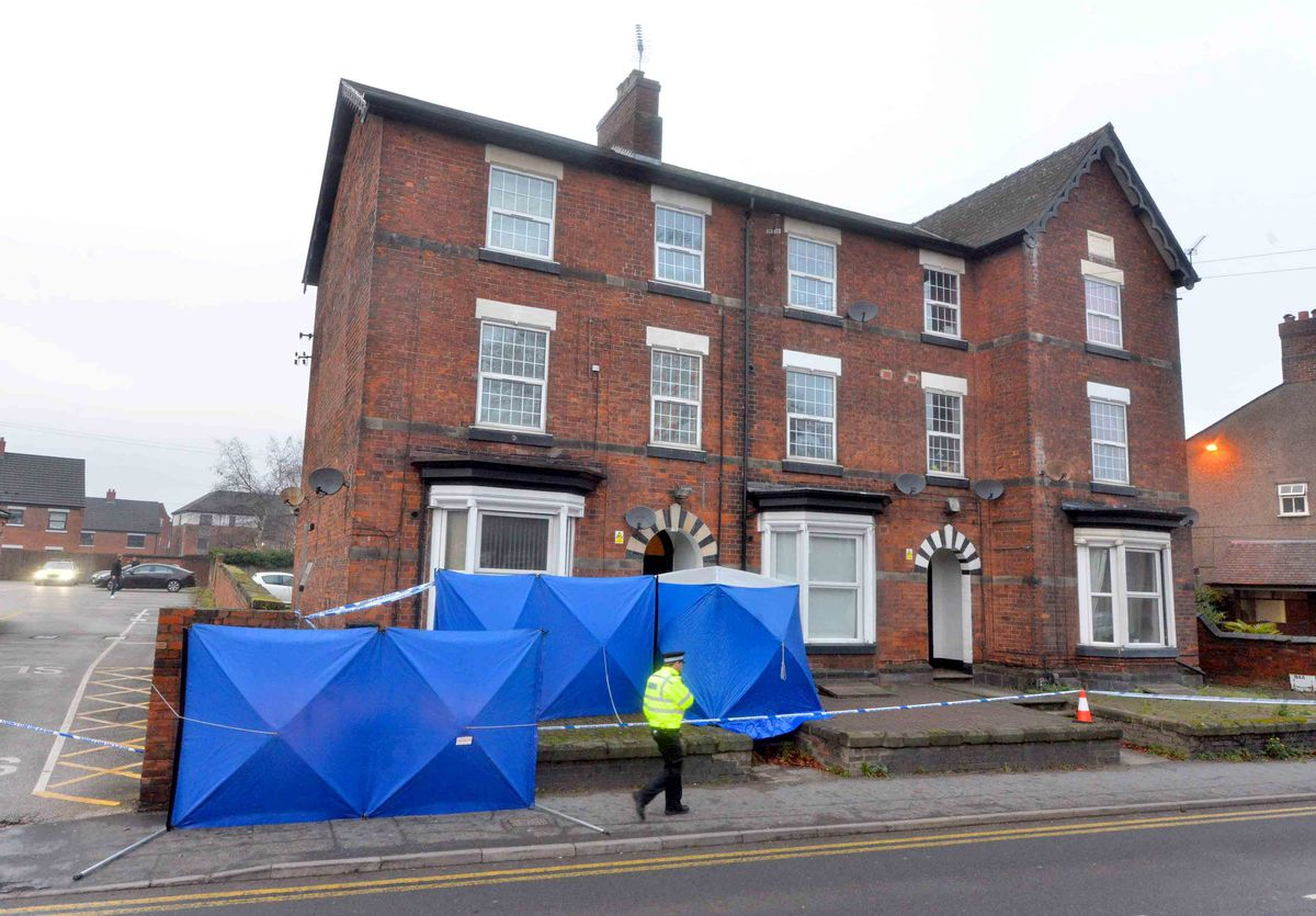 The police cordon which remains in place at the flat in Wolverhampton Road, Stafford. Credit: Steve Leath/Express & Star