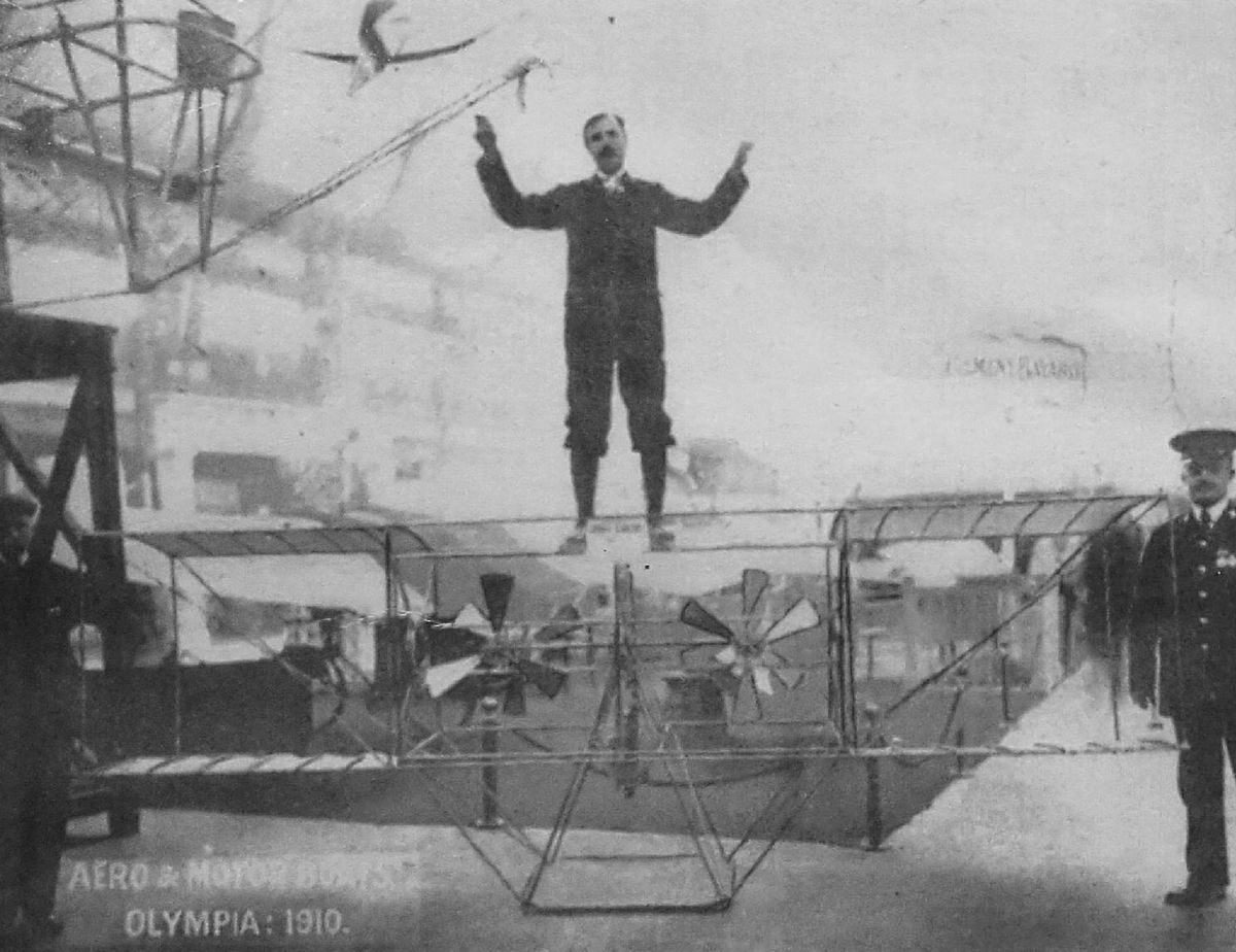 Arthur Phillips with his 'flying motorbike'