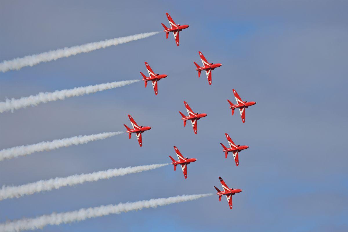 The Red Arrows in flight