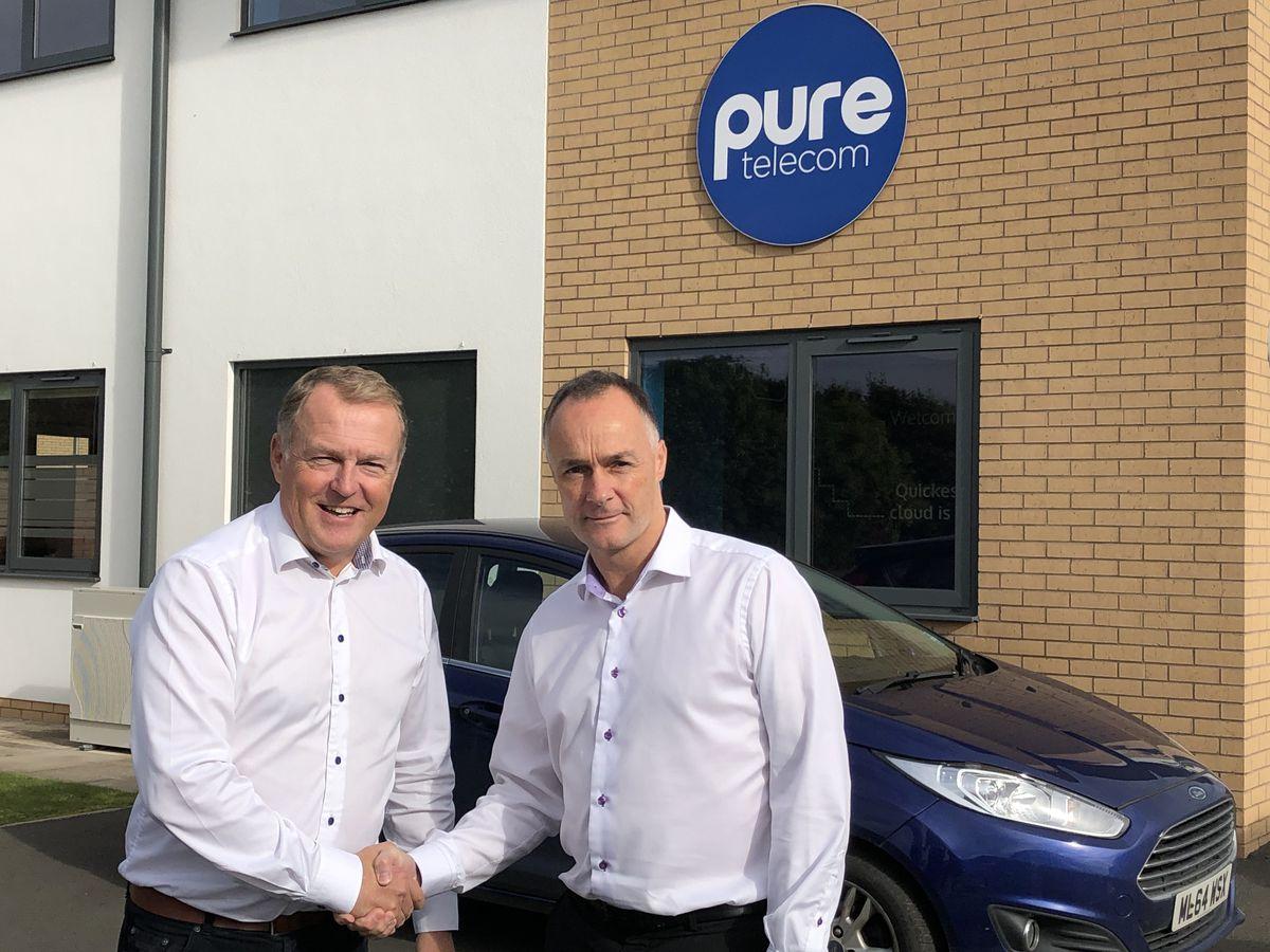 Pure Telecom CEO Matt Sandford with Bill Holmes, CEO of Radius