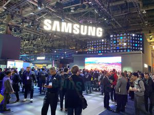 The Samsung stand inside the Consumer Electronics Show