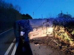 Car topples on road near Ellesmere