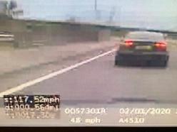Speeding driver caught doing 117mph on M54