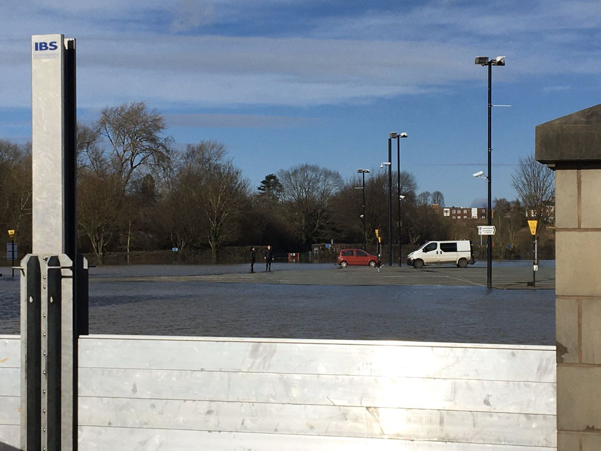 Flood waters rise on the Frankwell car park in Shrewsbury