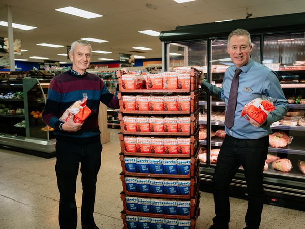 Stans superstore in Oswestry is doing free deliveries to vulnerable shoppers over 60. Pictured from left Rob Faulks and Andrew Faulks