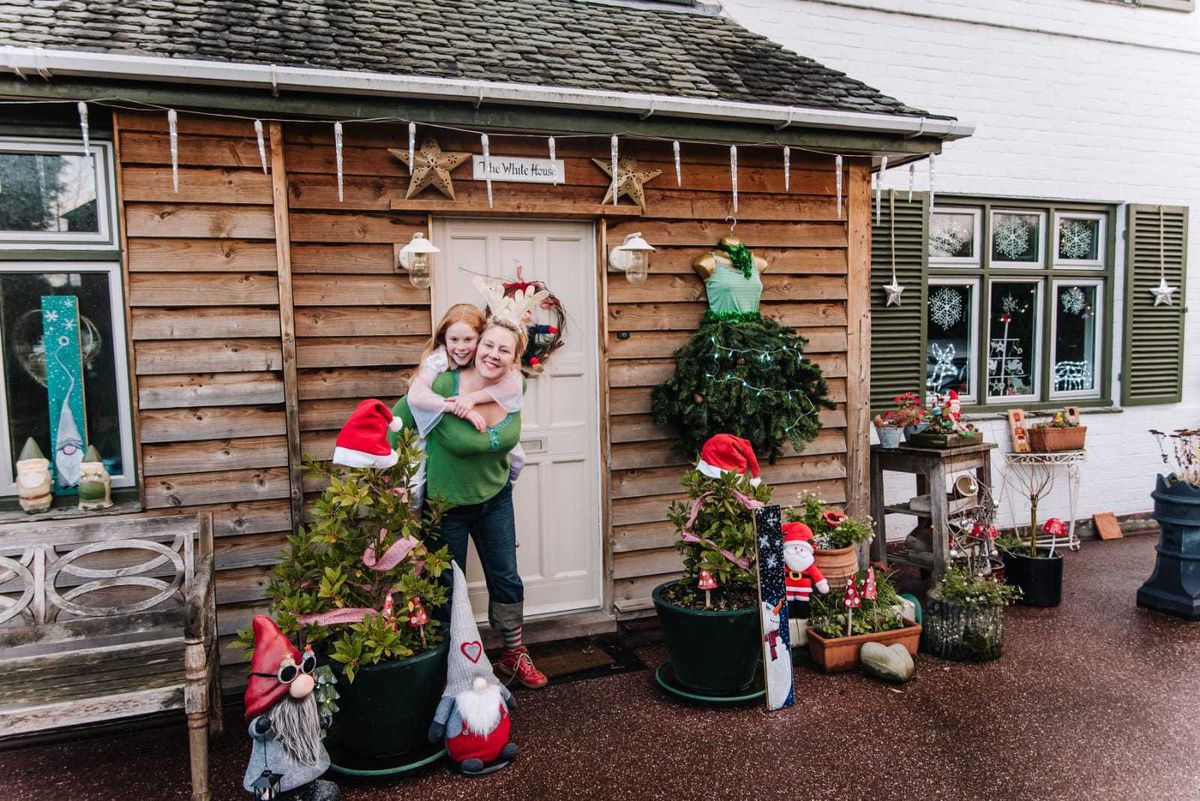 Heidi Gomm and her daughter Florence with their decorations