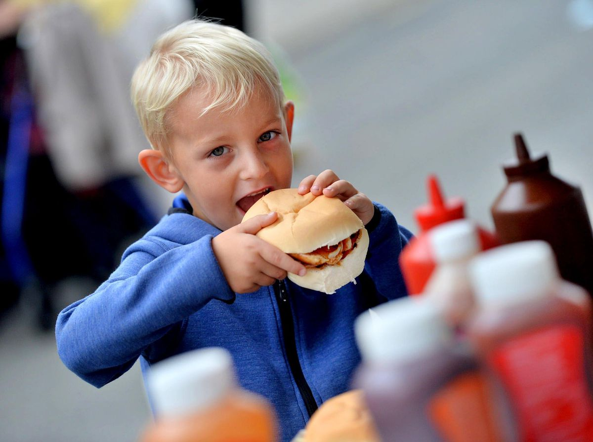 Thomas Medlicott 5, gets stuck in at Newport Food Frenzy