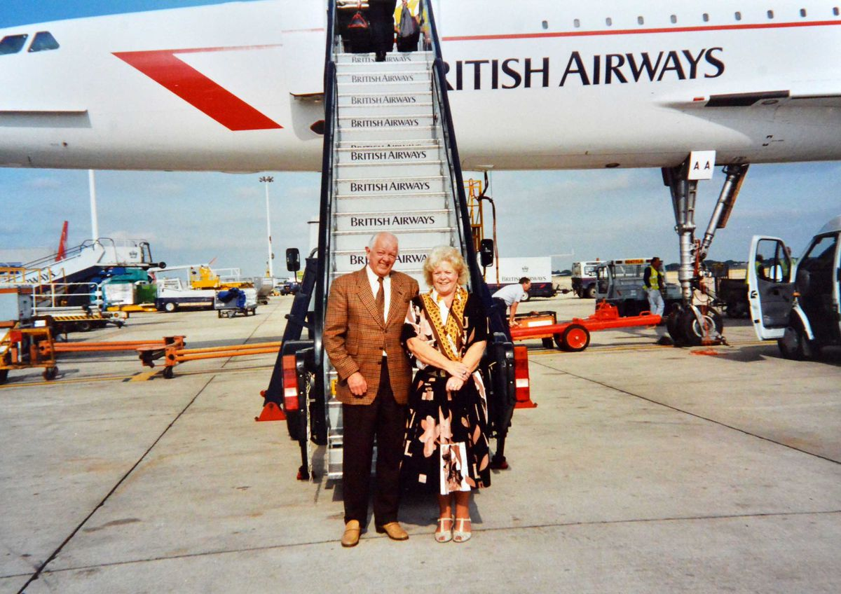 Alan Beckett about to board Concorde with late wife Beryl