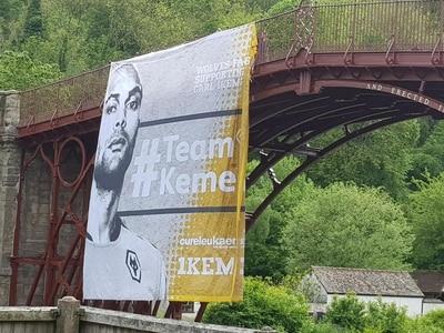 Wolves fans hang huge Carl Ikeme banner from Iron Bridge