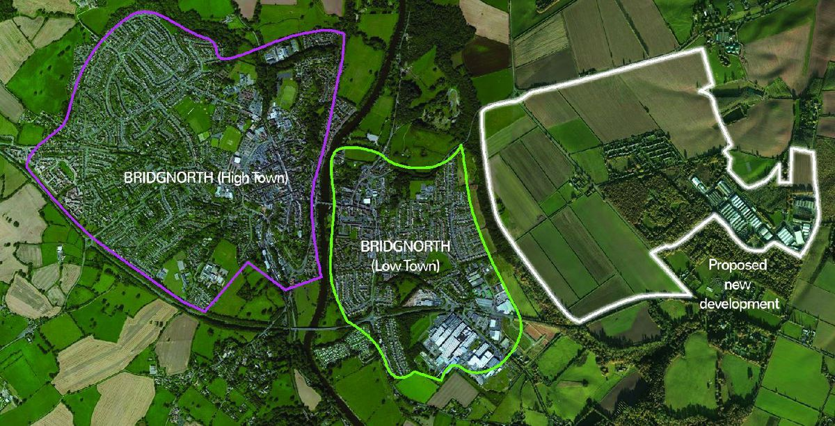 A map created by the Save Bridgnorth Green Belt group which shows areas of the town which could be developed up to 2036 and beyond