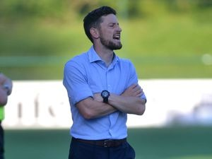 SPORT COPYRIGHT SHROPSHIRE STAR STEVE LEATH 15/07/2021.. The New Saints GC V Glentoran FC. TNS: Anthony Limbrick ..