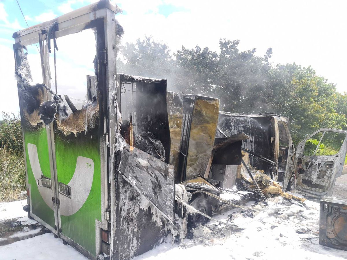 The aftermath of the delivery van fire