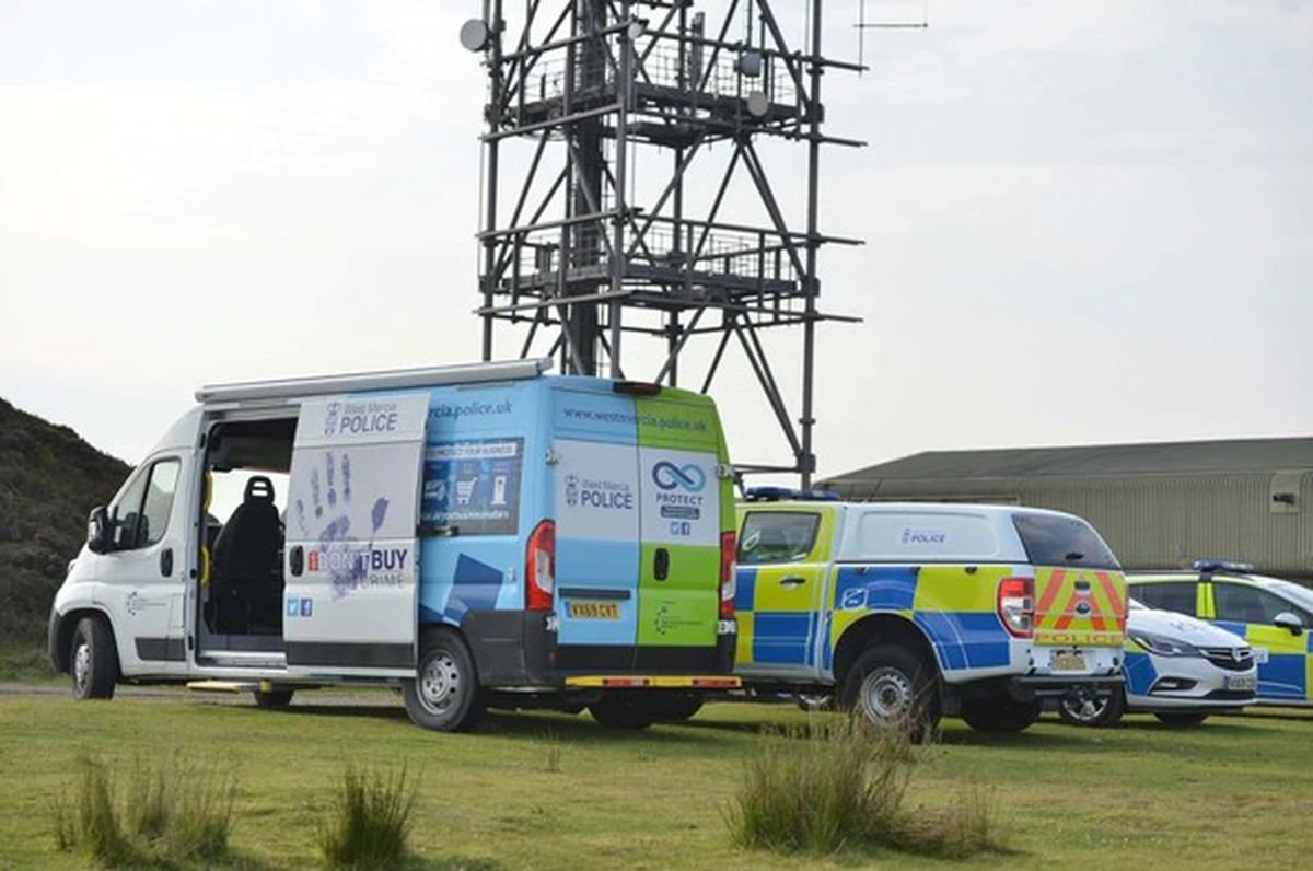 Police at Brown Clee Hill, Craven Arms