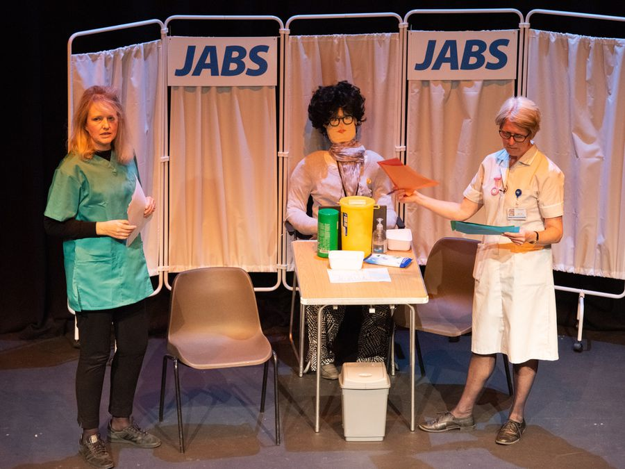 Christina Cubbin and Sally Tonge on stage for JABS