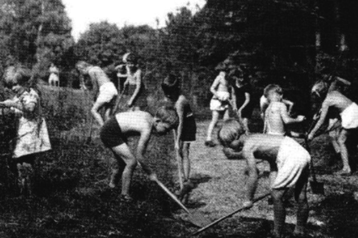 Jewish refugee children working the land at Trench Hall