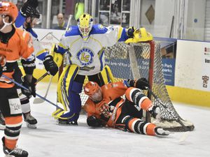 Telford Tigers v Leeds Chiefs 19/1/20 by Steve BrodieRick Plant is bundled into the net