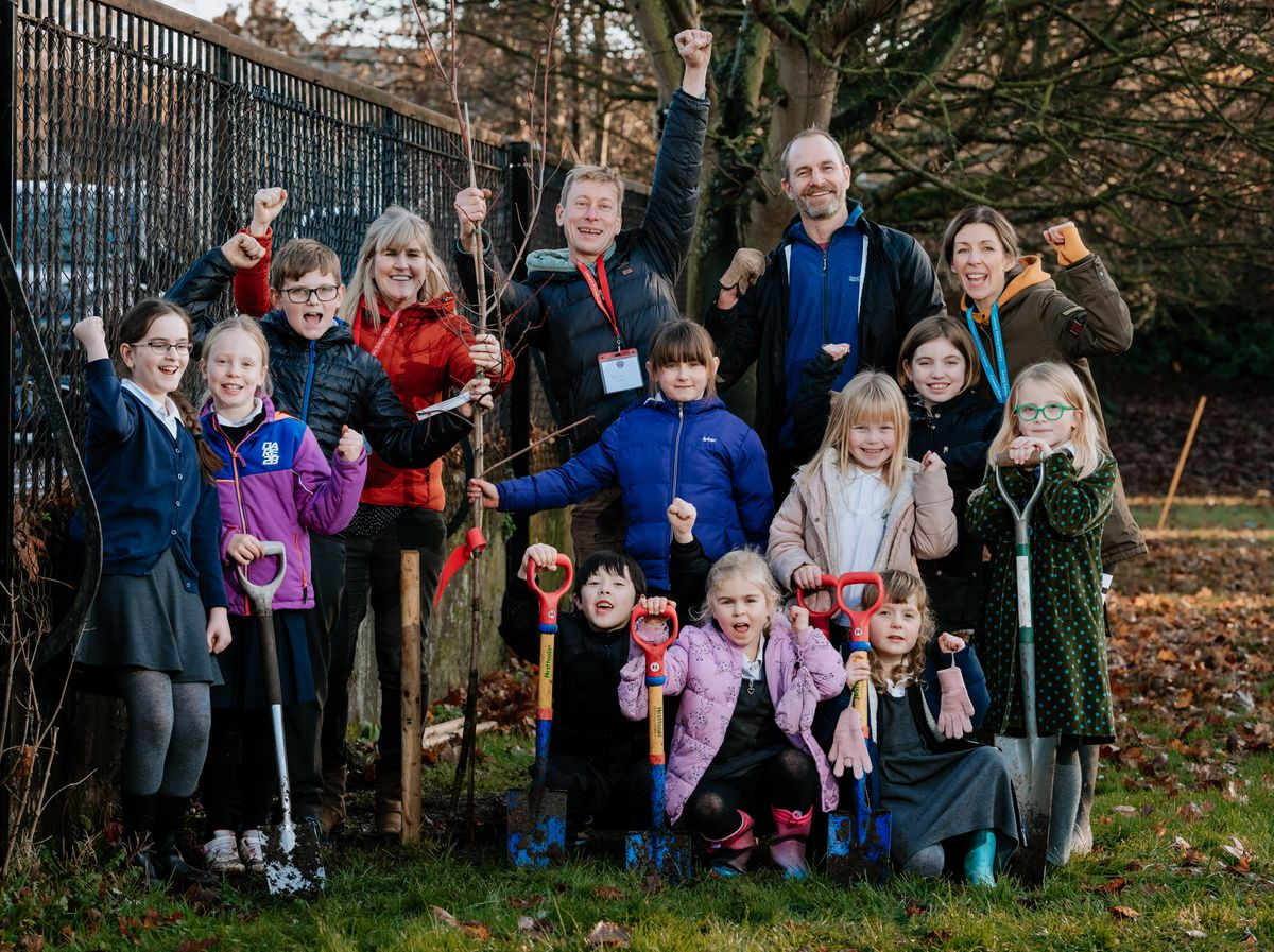 Trees donated to Coleham Primary School in Shrewsbury from Belle Vue Tree Planting Group as part of National Tree Planting week..
