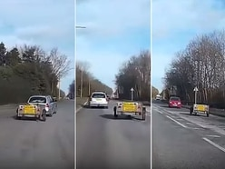 Watch: Trailer goes walkabout on Telford roundabout