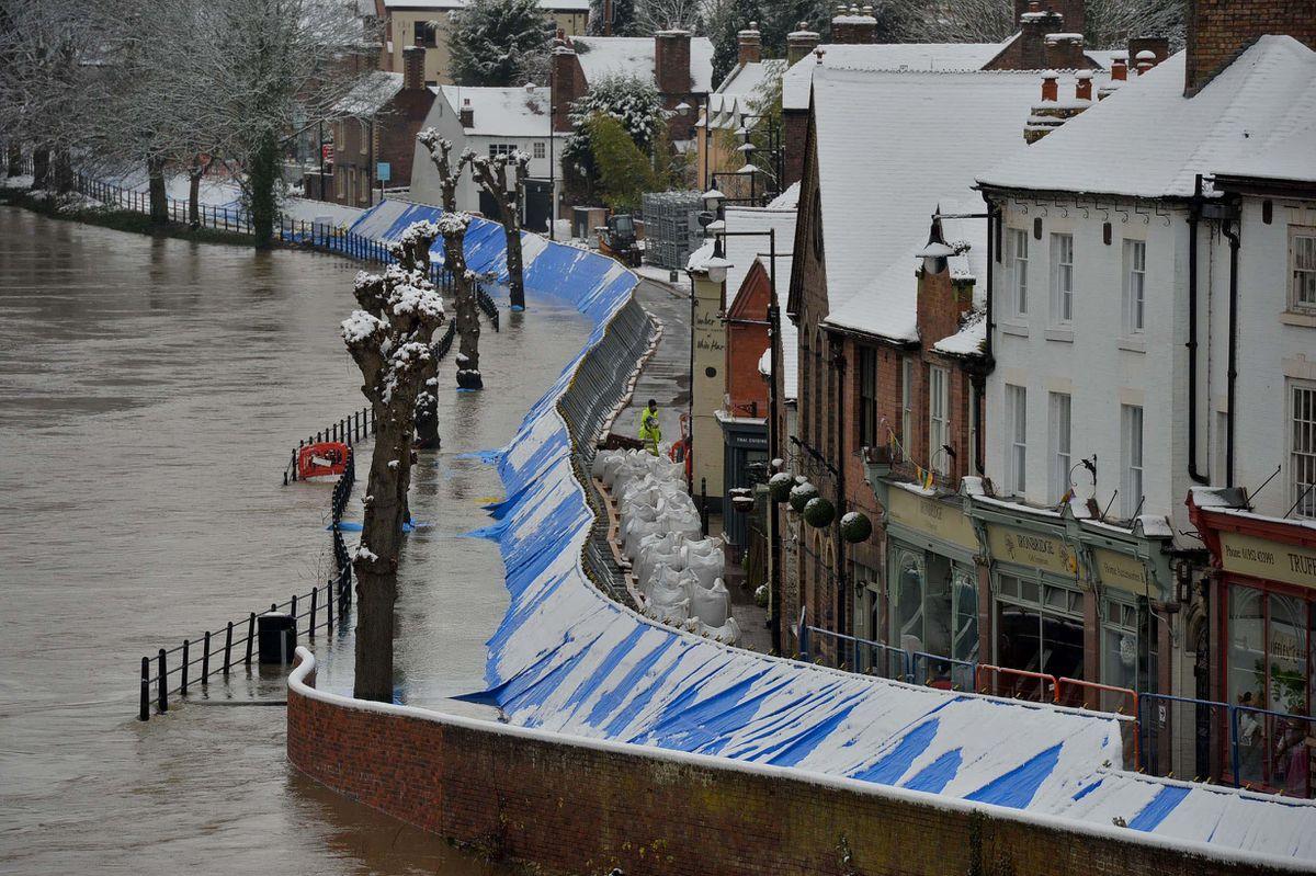 Flooding along the Wharfage in Ironbridge on Sunday