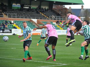 TELFORD COPYRIGHT MIKE SHERIDAN Shane Sutton heads at goal during the Vanarama Conference North fixture between Blyth Spartans and AFC Telford United at Croft Park, Blyth on saturday, October 10, 2020...Picture credit: Mike Sheridan/Ultrapress..MS202021-031.