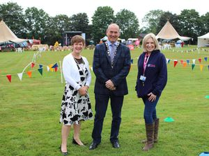 Mayoress Ruth Jones; Oswestry Town Mayor, Councillor Mark Jones; and Victoria Sugden, League of Friends Charity director