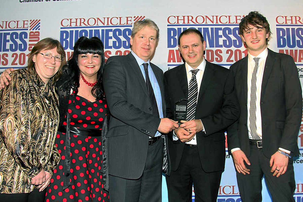 GWR Fasteners won Young Business of the Year – From left Jacqui Reynolds, Jude Robinson, John Ollier, of Turner Peacy, presenting, Gary Robinson, Griff Griffiths at the presentation evening