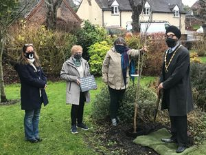 Broseley mayor Tarlochen Singh Mohr at a socially-distanced tree planting event with volunteers