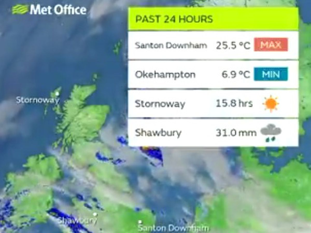 Shawbury was the wettest place in the country. Picture: Met Office