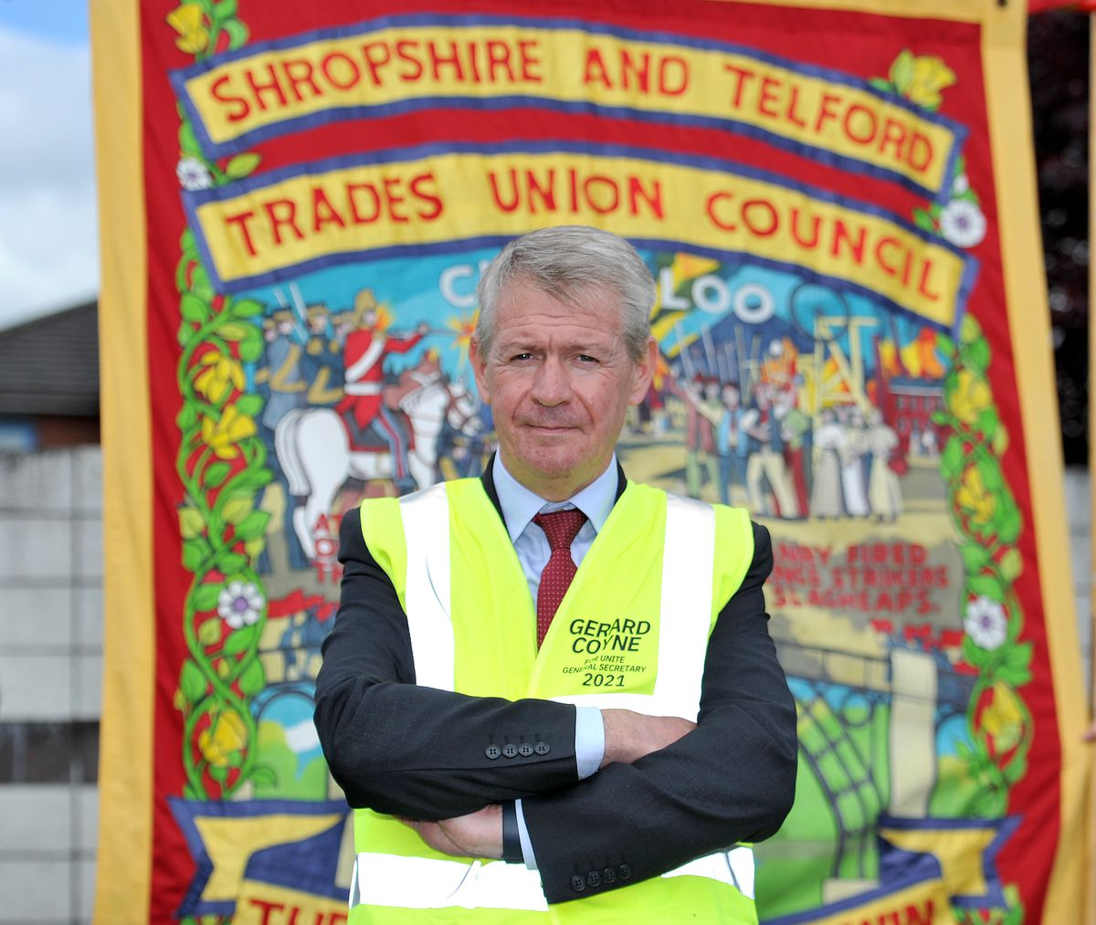 Unite leadership candidate Gerard Coyne on the picket line at the GKN Wheels and Structures site in Telford