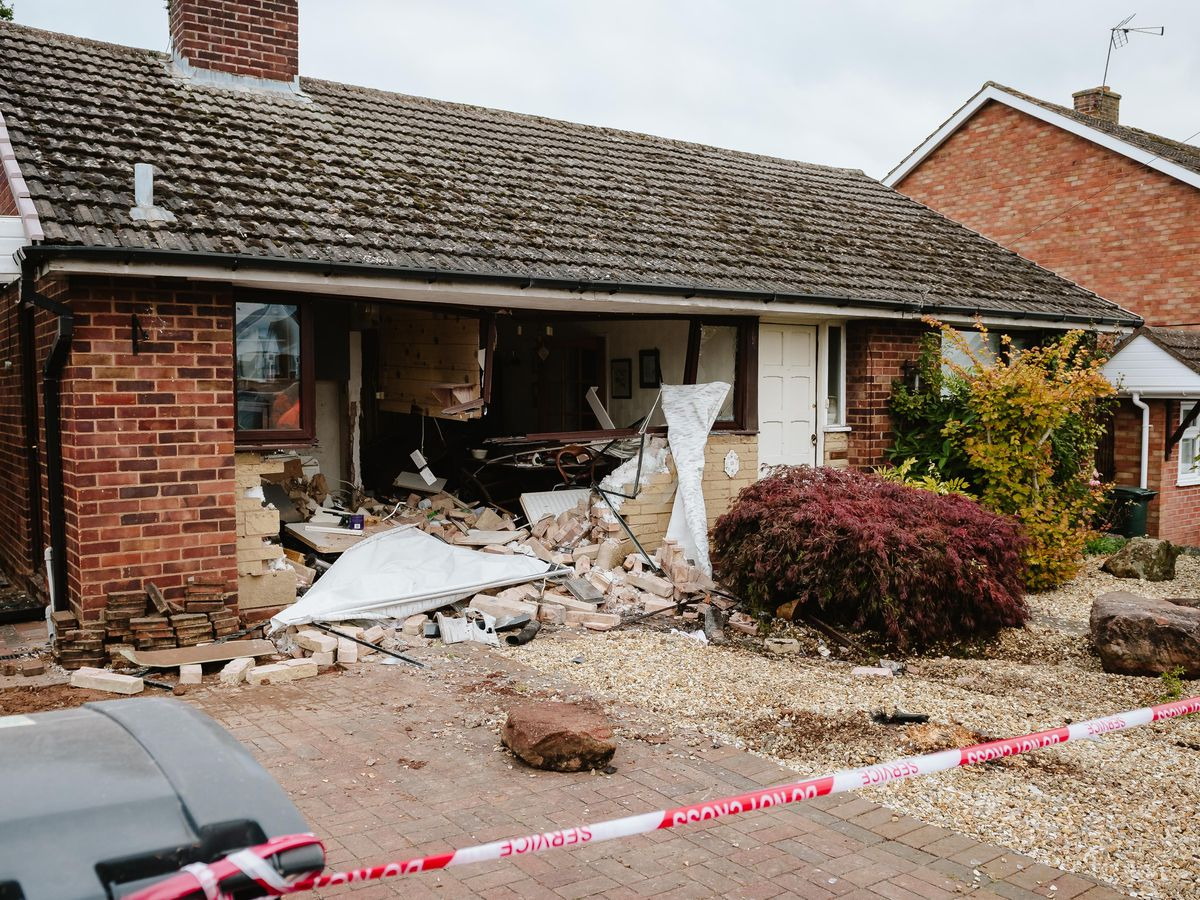 A car has demolished the front of the house in Bridgnorth