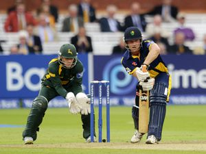 Graham Wagg as Nottinghamshire's Chris Read watches on during the Yorkshire Bank Pro40 Final at Lord's Cricket Ground, London.