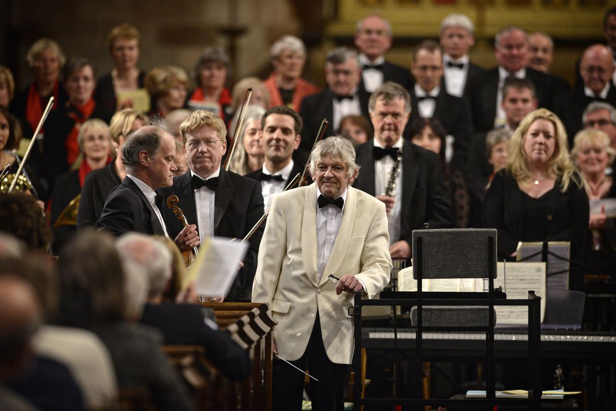 Bob Wysome preparing to conduct a choral and orchestral concert at Shrewsbury Abbey in 2014.