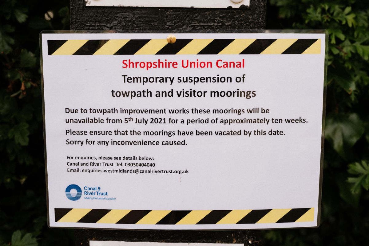 The towpath will be closed for ten weeks