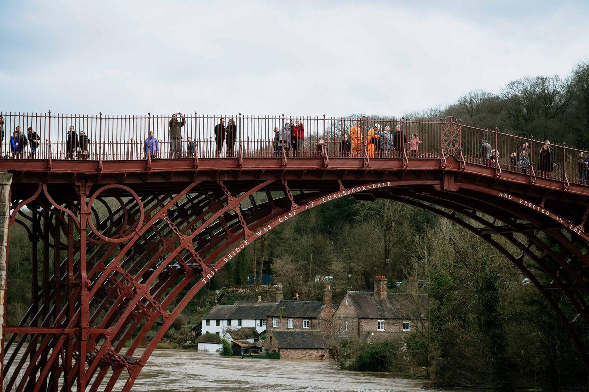 Spectators on the Iron Bridge on Tuesday