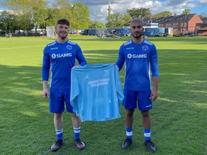 Shrewsbury Up & Comers Juan Jose Finlow and Ben Painter show off the Talamone colours after the two clubs created a new partnership