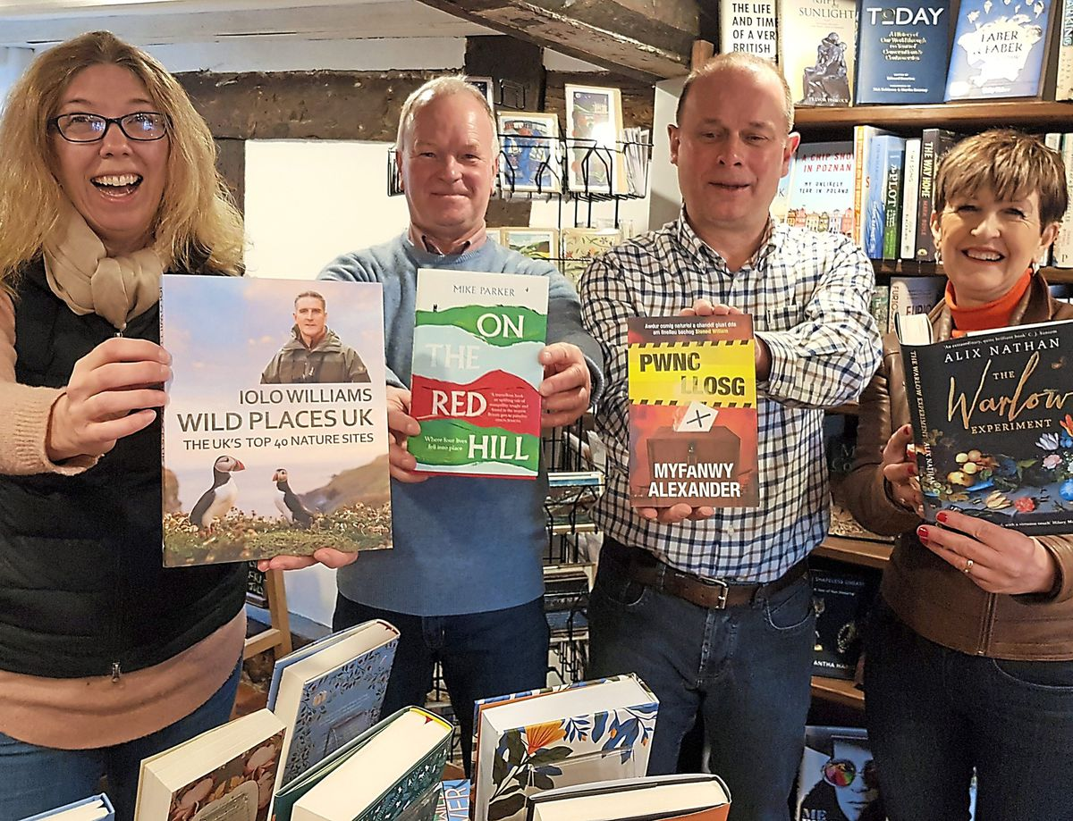 Sarah Morris, chairman of Montgomeryshire Lit Fest, bookshop owners Richard Eaves and Barry Lord and Cyndy Humphreys, local committee member