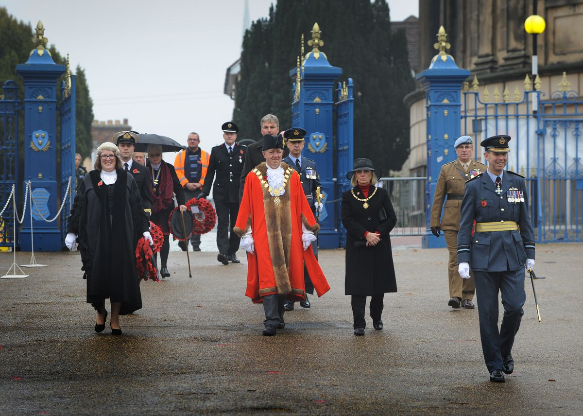 Remembrance Sunday procession at Shrewsbury's Quarry