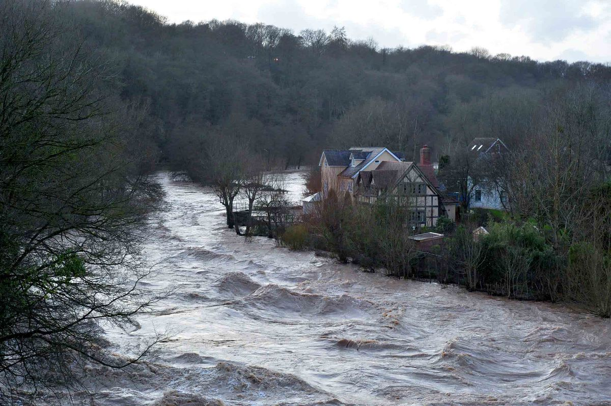 A very high River Teme in Ludlow after Storm Dennis