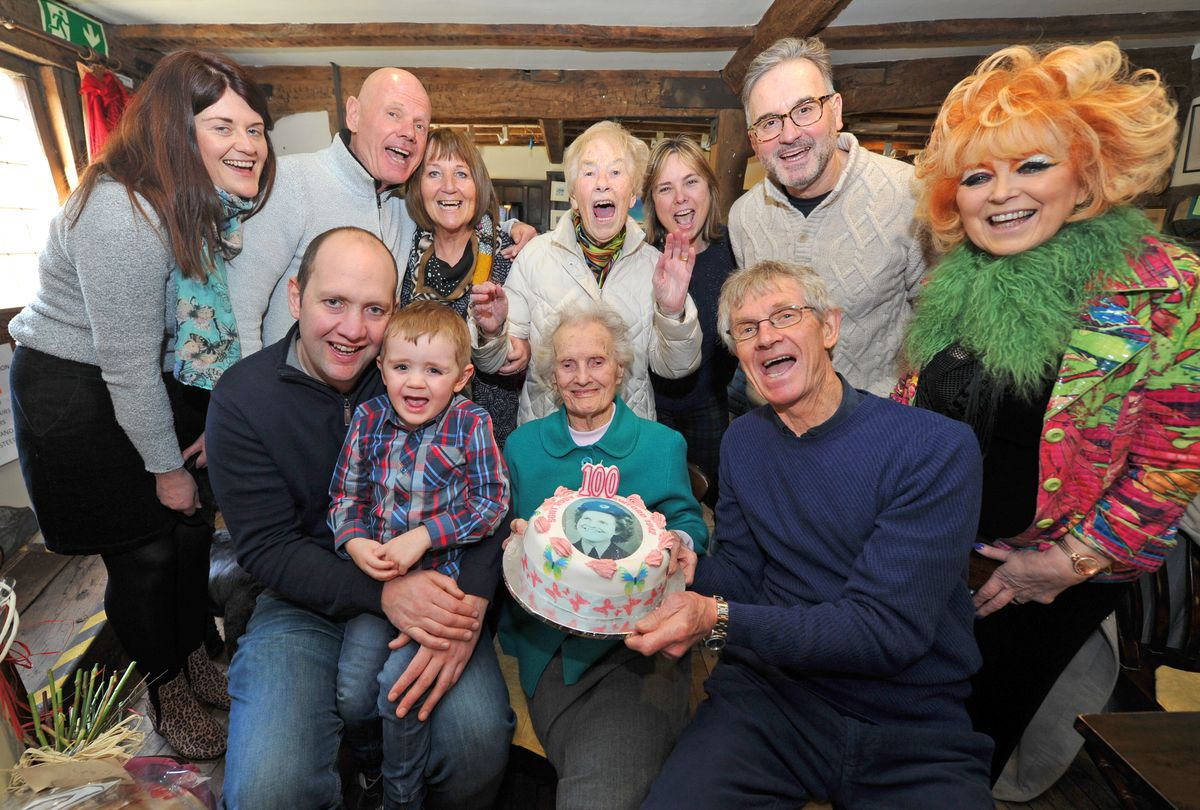 Ruby Jones celebrates her 100th birthday at Oswestry Heritage Centre coffee shop with friends and family