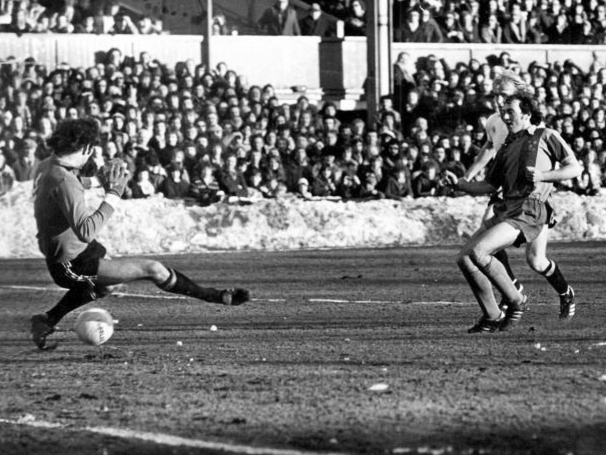 Snow way back for Manchester City as Paul Maguire scores for Shrewsbury Town against the Division One giants in a famous 1979 FA Cup victory