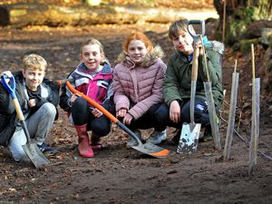Children from Clive CE Primary School, Grinshill, planting trees at Corbett Wood, Grinshill. Pictured are Stan Millichap, aged 9, Lola Bates, aged 10, Marianne Page, aged 9 and Charlie Bushill, aged 9.