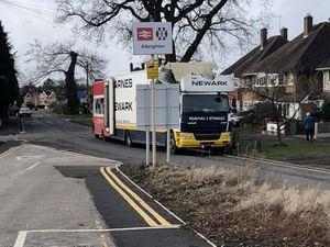 The damaged lorry
