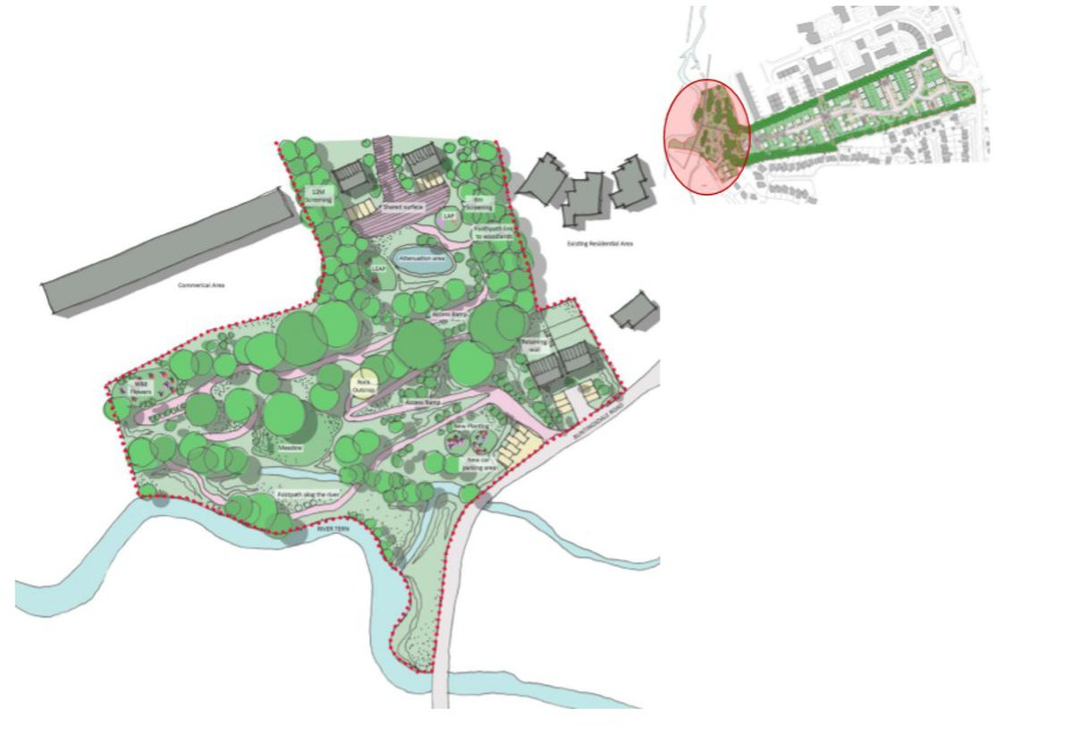 The proposed country park at the back of the development, connecting to the River Tern and Buntingsdale Road. Photo: Curtin & Co