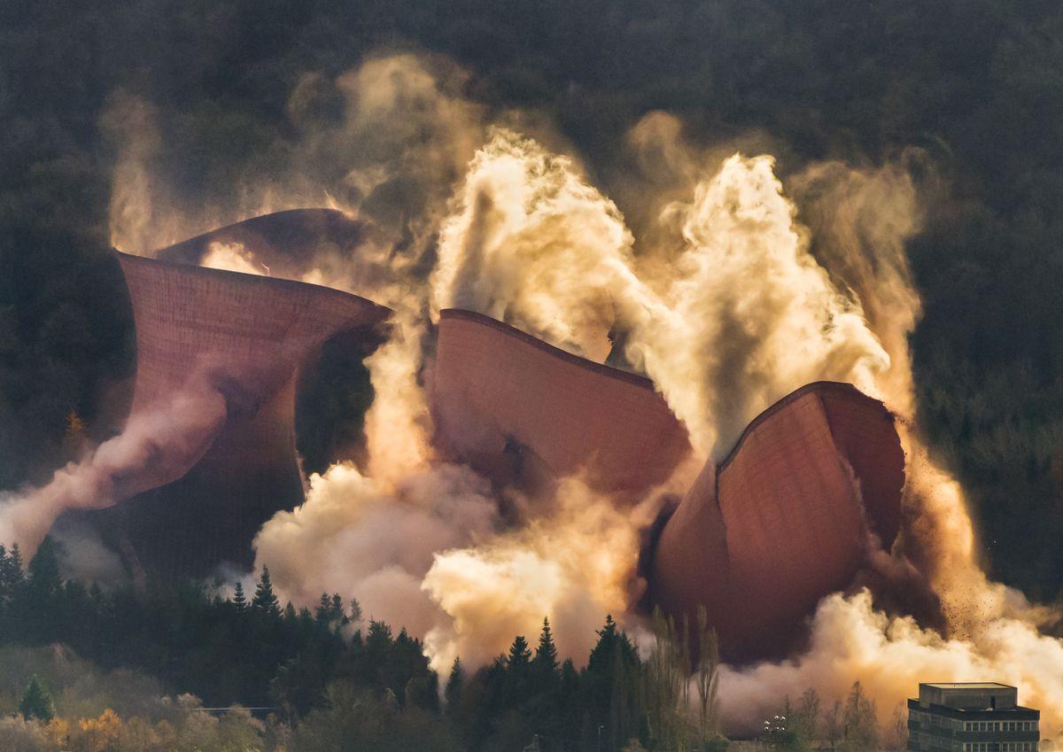 Ironbridge Power Station cooling towers demolition, seen from the Wrekin.